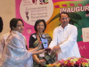 Receiving Filmmaker Award  2015 by Women's Film Society Bangladesh on 14 March.